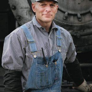 Durango Silverton train conductor and locomotive