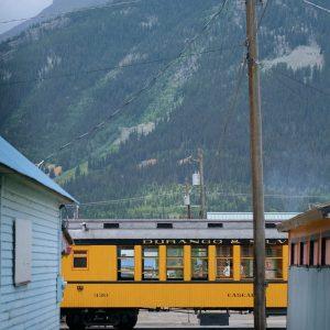 Train parked in downtown Silverton, Colorado